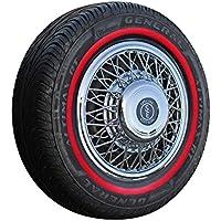 Set speiche Copricerchi + bianco da parete anelli in nero/rosso 14pollici–Universale, adatto autovetture. auto d' epoca,