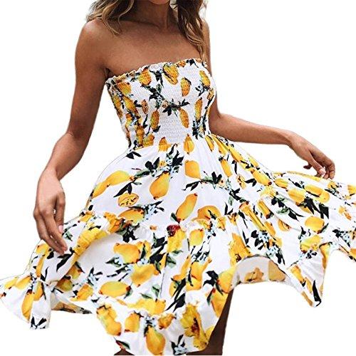 Frauen Mini kurze Kleider, BURFLY Frauen Schulterfrei Kleid ärmellos bedruckt Beachwear Kleid rückenfreies Kleid Casual Sommer Party Swing Kleid Damen Kleider (S, Gelb) (Kleid Womens Boatneck)