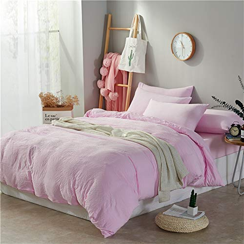 UOUL Bettwäscheset Aus Gewaschener Baumwolle, Die Nicht Ausbleicht. Spannbetttuch Für Männer Und Frauen,Light pink,Twin -