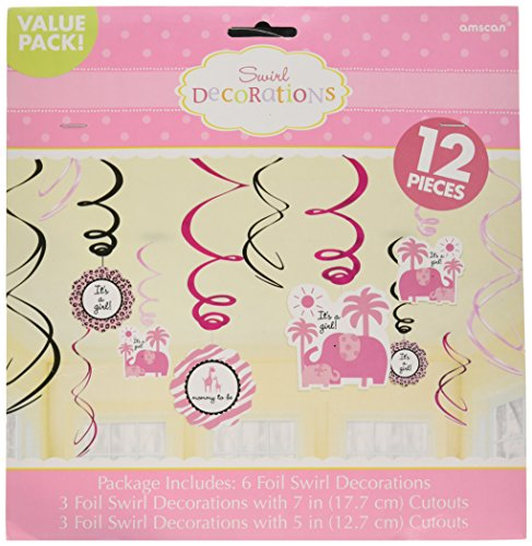 Girl Swirl Value Pack Baby Shower Party Decorations (12 Piece), Pink by Amscan ()