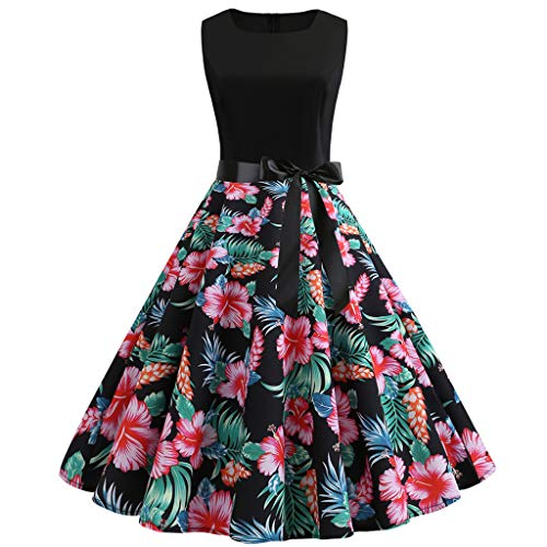 Momoxi Kleid,Damen Frauen Vintage 50er Jahre Retro ärmellose O Neck Print Abend Party Prom Swing Dress - Party-prom-jacke