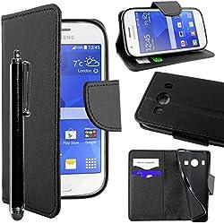 ebestStar - Compatible Coque Samsung Ace 4 Galaxy SM-G357FZ Etui PU Cuir Housse Portefeuille Porte-Cartes Support Stand + Stylet, Noir [Appareil: 121.4 x 62.9 x 10.8mm, 4.0'']