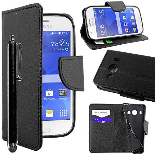 ebestStar - Compatibile Cover Samsung Ace 4 Galaxy SM-G357FZ Custodia Portafoglio Pelle PU Protezione Libro Flip + Penna, Nero [Apparecchio: 121.4 x 62.9 x 10.8mm, 4.0'']