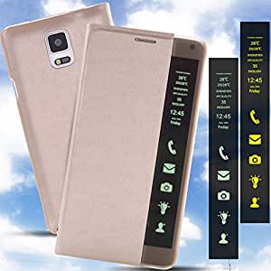 Kapa Smart Info Side Window Leather Flip Case Cover for Samsung Galaxy Note 4 - Gold