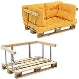 [en.casa] Euro Paletten-Sofa - DIY Möbel - Indoor Sofa mit Paletten-Kissen Wintergarten (1 x Sitzauflage und 4 x Rückenkissen) Senffarben - inkl. 1 Europalette + 4X Rückenlehne