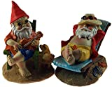 Set Of 2 Gnome At Beach 14cm Garden Figurines Ornaments - Deckchair / Guitar