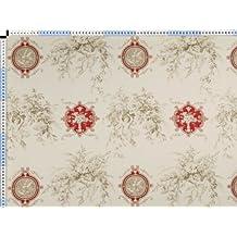 Tela de tapicería, tela de tapicería, tela de tapicería, tela, tela de la cortina, - Angelique, rojo - crema blanca toile de Jouy de la tela con un motivo romántico de impresión