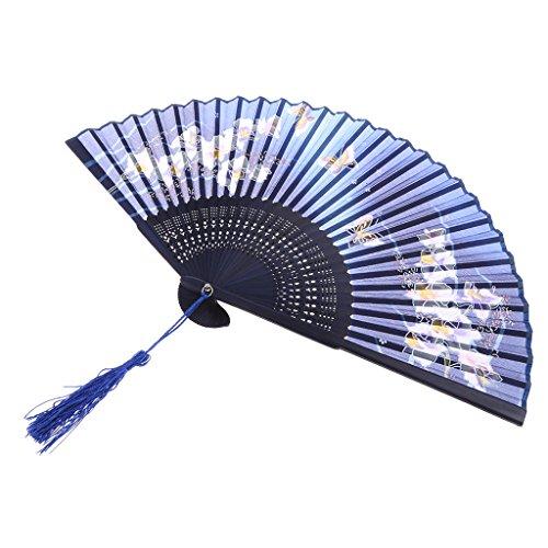 MagiDeal Faltbar Handfächer Taschenfächer Seide Faltfächer Sommerfächer Bambus Fans mit Quaste Karnevals Party Hochzeit Dekoration Tanzabend - Kirschblüten Butterfly Blue