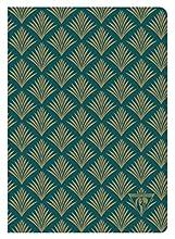 Clairefontaine 192436C - Quaderno rilegato Neo Deco Textile 14, 8 x 21 cm, 96 pagine avorio a righe, 90 g, copertina verde smeraldo motivo vegetale