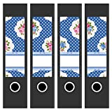 4 x Akten-Ordner Etiketten/Aufkleber/Rücken Sticker/mit Design Motiv Florale Muster Blau/für breite Ordner/selbstklebend / 6cm breit