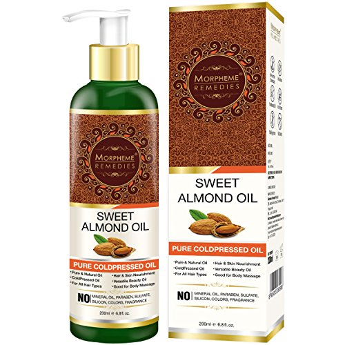 Morpheme Pure Sweet Almond Oil 200 ml (ColdPressed) For Hair, Body, Skin Care, Face 200ml
