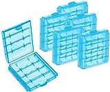 com-four 6X Batteriebox aus Kunststoff - Aufbewahrungsbox für Batterien und Akkus - Akkubox für AA und AAA (06 Stück - Blau)