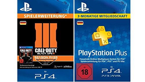 Call of Duty - Black OPS 3 Season Pass + PlayStation Plus Mitgliedschaft - 3 Monate [PS4 PSN Code - deutsches Konto]