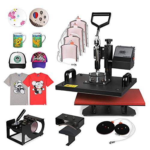 Morffa Transferpresse Multifunktions Sublimations Transferpresse Maschine 9 in 1 Digitaler LCD Temperaturregelung Wärmepressemaschine Transfer Sublimation Hut Becher Kappe Platte Mauspad -