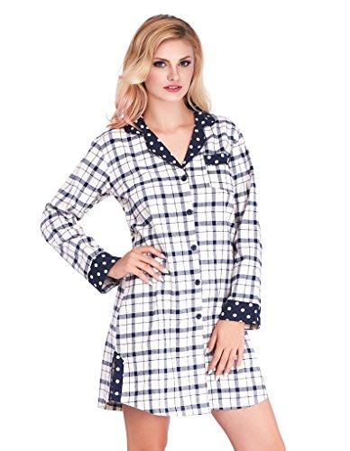 Mio Lounge Joni Cream and Blue Check Polka Dot Soft Brushed Cotton Nightshirt ML16C4NS M-L (Polka Dot Nightshirt)