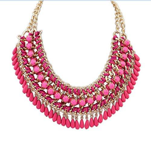 SUNNOW® Bohemian Vintage Perles Tassel Bib Style Pull Collier Fashion Necklace Avec un cadeau Sac Rose rouge