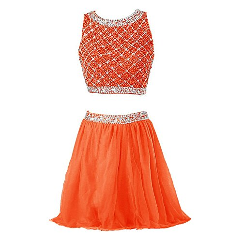 Callmelady® Robe de Cocktail Courte Robe de Soirée Deux Pieces Robes Femme Élégante 2017 Orange