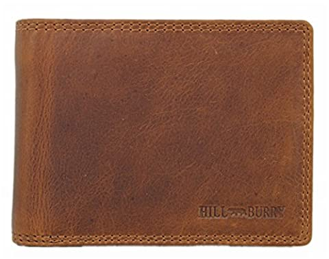 Hill Burry Herren Echt-Leder Geldbörse Portemonnaie Brieftasche Portmonee Geldbeutel Kredit-Kartenetui Wallet Vintage Organizer Reisebrieftasche aus hochwertigem Leder braun LGHB3625