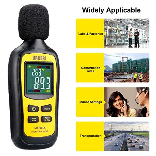 URCERI Schallpegelmessgerät - Digital Sound Level Meter Lärm-/ db-Messgerät mit Messbereich 35dB - 135dB, Max / Min / Haltedaten, Temperaturmesser und LCD-Display, inkl. Batterie - 6