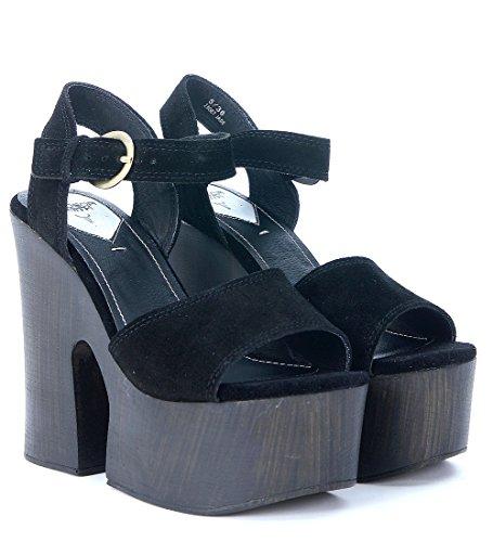 WINDSOR SMITH JADE Sandalo tacco alto legno BLACK SUEDE Nero