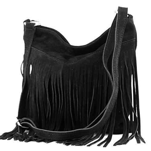 Borsa a mano borsa a tracolla shopping bag donna in vera pelle italiana T02 T145 Schwarz