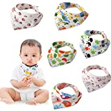Bylove - Set di 6 bavaglini in cotone, baby bandana con simpatici disegni e chiusura regolabile tramite bottoni a pressione, unisex, per neonati e bambini, idea regalo per baby shower