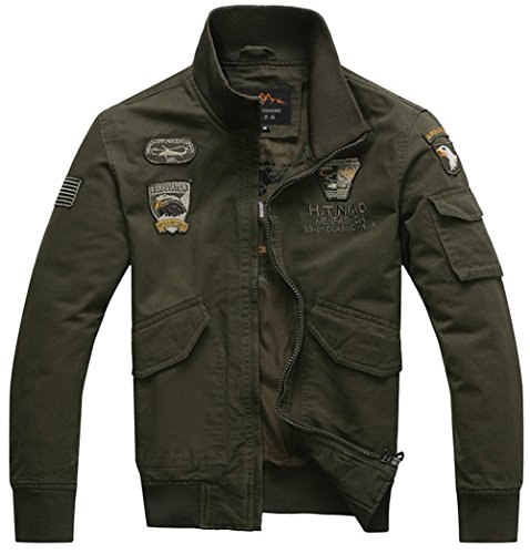 YYZYY Herren Classic Baumwolle Bomberjacke Air Force patches Bomber Jacken Mäntel XS-2XL Mens military Jacket (EU/DE Large, Armee-Grün)