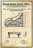 Schatzmix United States Patent Office - Design for a Piano Frame - Entwurf für Einen Klavier Rahmen - Steinway - 1885 - Design 314742 - Blechschild
