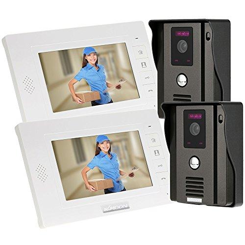 KKmoon Intercom Doorbell Video Intercom 2 Cameras & 2 Monitors 7 Inch Wired Video Doorbell Door Chime Home Entry Intercom System Video Door Phone Video Entry System Intercom Kit Night Vision