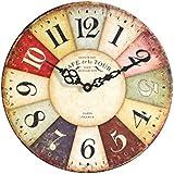 Sehaz Artworks Cafe_de_la_tour UV Round Wood Wall Clock (30.48 Cm X 30.48 Cm X 2 Cm)