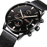 Luxus Marke crrju Herren Uhren Fashion Wasserdicht Schwarz Mesh Edelstahl Gurt Analog Quarz Chronograph Armbanduhr Classic Casual Datum Uhr