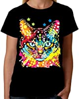 Velocitee Ladies T-Shirt Psychedelic Blue Eyes Cat A19035