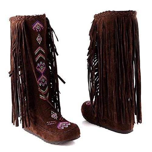 alta ginocchio dimensioni tallone piano stivali con frange in velluto filato netto smerigliato scarpe da donna brown