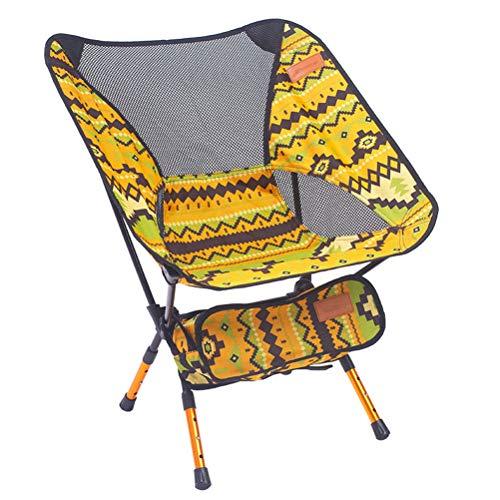 Preisvergleich Produktbild LIOOBO Tragbare Klapp Angeln Stuhl Camping Stuhl Sitz 600D Oxford Tuch Aluminium Angeln Stuhl für Picknick Im Freien BBQ Strand Stuhl (Gelb)