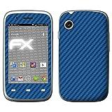 atFolix Skin kompatibel mit Wiko Ozzy, Designfolie Sticker (FX-Carbon-Blue), Carbon-Struktur/Carbon-Folie