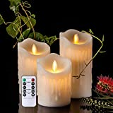 LED Kerzen im 3er Set Flackernde Dekorations Kerzen mit Fernbedienung Timer-Funktion