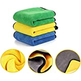Auto Hub Heavy Microfiber Cloth for Car Cleaning and Detailing, Dual Sided, Extra Thick Plush Microfiber Towel Lint-Free, 800 GSM (Size 40cm x 40cm)/Pack of 3