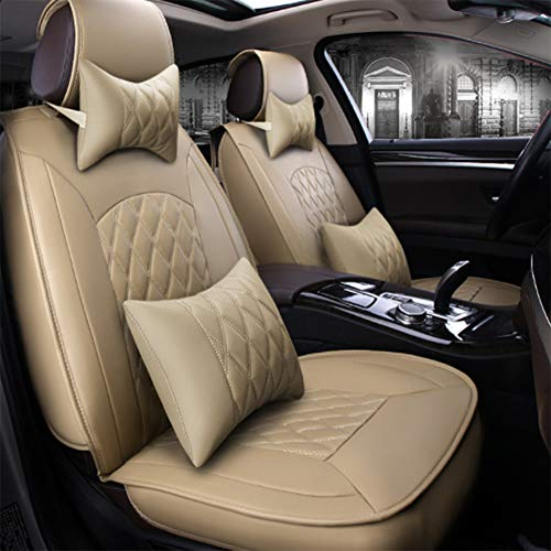 5-Seat Auto Sitzbezug Voll Wasserdicht Leder Universal Limousine Suv Truck Geeignet Für Die meisten Modernen Kia Honda Mazda Nissan Toyota Chevrolet,Beige (Sitzbezug Für Mazda Suv)