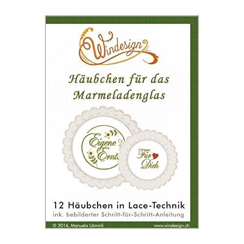Windesign Stickmuster-Vorlagen CD, Motiv Häubchen fürs Marmeladenglas, Freistehende Spitzenstickerei, Stick-Software für Stickmaschinen, Doodle-Stitching für Brother, Bernina, Babylock, Pfaff