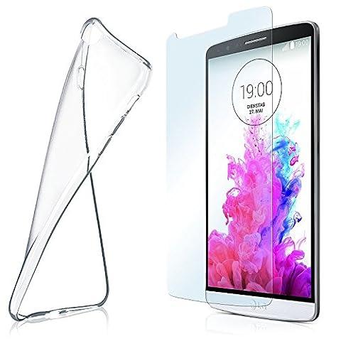 Silikon-Hülle für LG G3 + Panzerglas Set [360 Grad] Glas Schutz-Folie mit Back-Cover Transparent Handy-Hülle LG G3 Case Slim Schutzhülle Panzerfolie