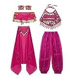 FEESHOW Mädchen Bauchtanz Kostüme 5er Indien Belly Dance Indien Kleidung Set Top + Hose + Gesichtsschleier +Armband Fasching Karneval Outfits hot pink 122-128/7-8Jahre