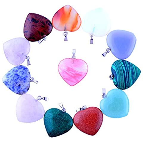 12pcs Big Love Heart Pendants 0.98inch Charms Crystal Heading Chakra Rock Stone Pendants Diy for Necklace Jewelry Making