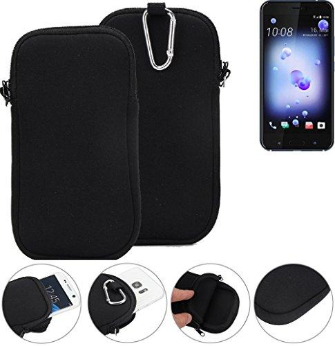 K-S-Trade Neopren Hülle für HTC U11 Dual-SIM Schutzhülle Neoprenhülle Sleeve Handyhülle Schutz Hülle Handy Gürtel Tasche Case Handytasche schwarz