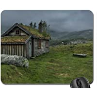 wooden house in misty highlands Mouse Pad, Mousepad (Houses Mouse (Highland House)