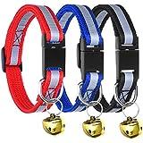 Mudder Einstellbare Reflektierende Abtrennbare Haustier Halsband mit Schelle für Katze Hunde, 3 Stück, 3 Farbe