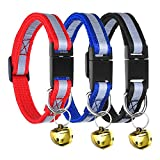 Mudder Adjustable Reflective Breakaway Pet Collar with Bell for Cat Dog, 3 Pieces, 3 Colors