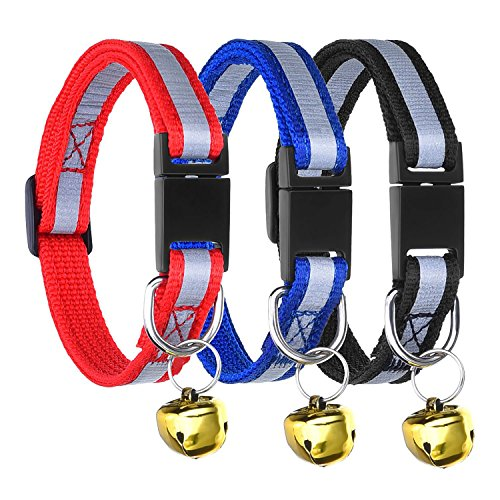 Adjustable Reflective Breakaway Pet Collar with Bell for Cat Dog, 3 Pieces, 3 Colors