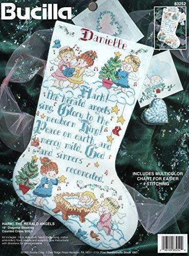 Bucilla Hark! The Herald Angels 18 Diagonal Stocking Cross Stitch Kit 1995 by Bucilla -