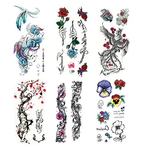 LINGREAL Trendy Tattoo Aufkleber für Mädchen Frauen - 6 Blätter verschiedene einzigartige Trendy Muster - Feder, Rose Flower, Pflaumen und Tigers, Flying Phoenix, Kunst Musik Blumen -