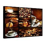 Kunstdruck - Kaffee Collage II - Bild auf Leinwand - 70x50 cm 1 teilig - Leinwandbilder - Essen & Trinken - Kaffeebohnen - Kaffeemühle - Genuss - Tradition